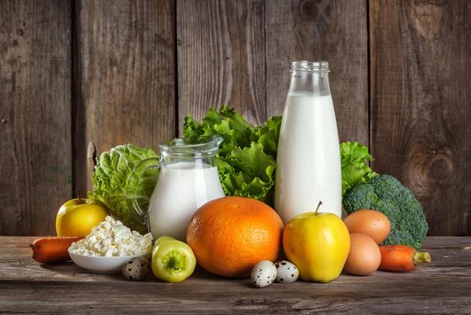 Овощи, фрукты и молочные продукты
