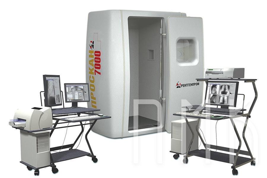 С рентгенозащитной кабиной флюорограф сканирующий (только флюорография)