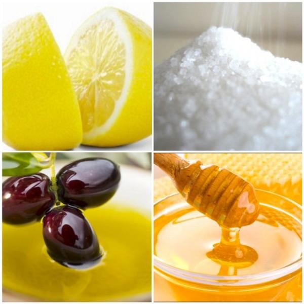 Ингредиенты для медово-солевого скраба.