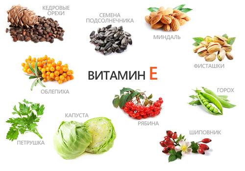 в каких продуктах витамин E