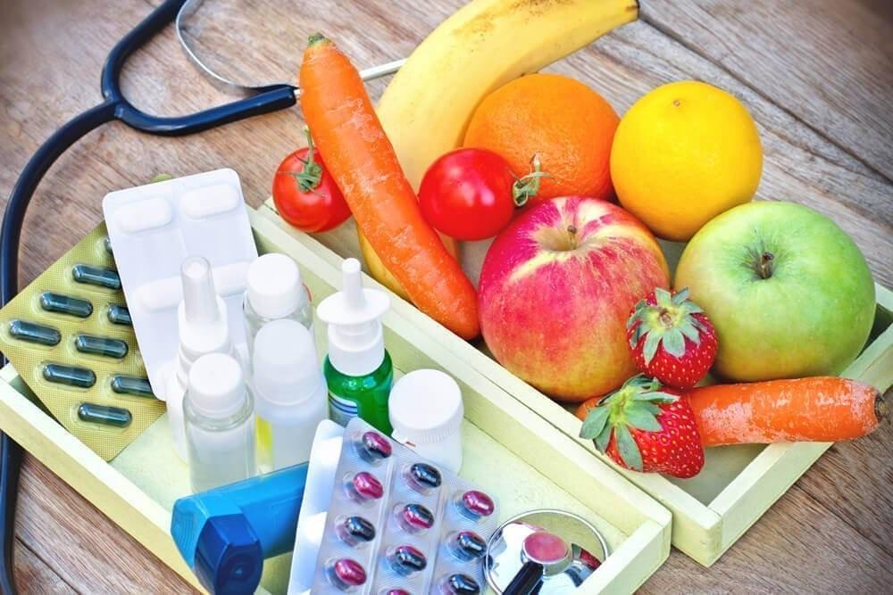 Использование лекарственных средств и употребление сезонных овощей и фрутков