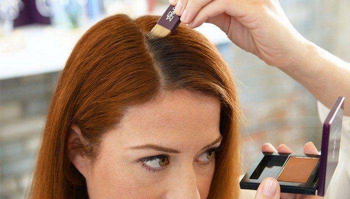Закрасить корни волос тенями